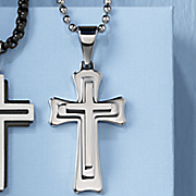 men s stainless steel 3d cross pendant