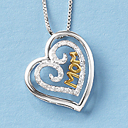 two tone double heart mom pendant
