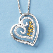 two tone double heart mom pendant