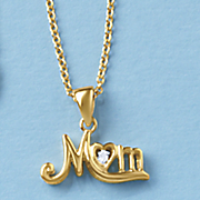 diamond script mom pendant
