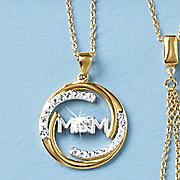 white topaz mom circle pendant