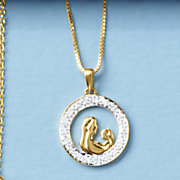 Diamond Mother and Child Pendant