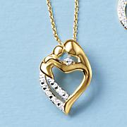 Diamond Mother and Child Heart Pendant