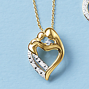 diamond mother and child heart pendant