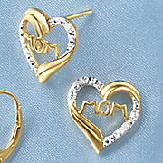 diamond mom post heart earrings