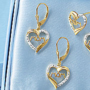 diamond mom dangle heart earrings