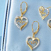 diamond mom dangle heart earrings