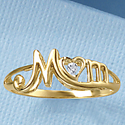 diamond script mom ring