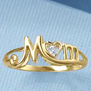 diamond script mom ring
