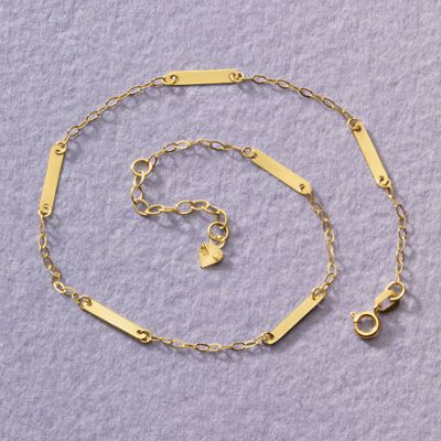 14K Gold Bar/Chain Anklet