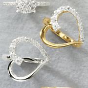 white diamond open heart ring