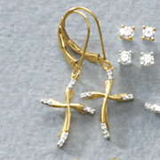 white diamond cross leverback earrings