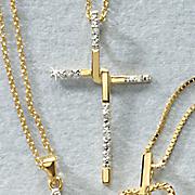 white diamond interlocking cross pendant