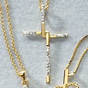white diamond interlocking cross pendant