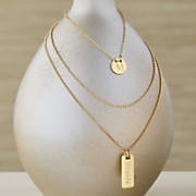 3 pc  name initial necklace set