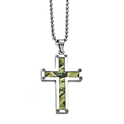 stainless steel camouflage cross necklace