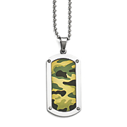 stainless steel camouflage dog tag necklace