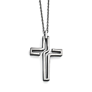brushed stainless steel antiqued cross necklace