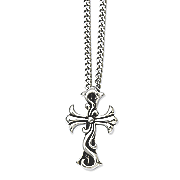 stainless steel antiqued fancy scroll cross necklace