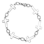 Stainless Steel Sideways Cross Bracelet