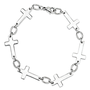 stainless steel sideways cross bracelet