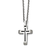 Brushed Stainless Steel Cutout Cross Necklace