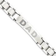 brushed stainless steel dad bracelet