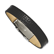 Stainless Steel Textured Black Leather Bracelet
