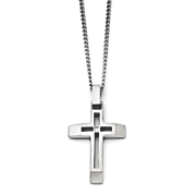 brushed stainless steel cubic zirconia cross necklace