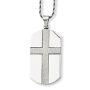 Stainless Steel Laser-Cut Dog Tag Cross Necklace