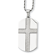 stainless steel laser cut dog tag cross necklace