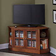 convertible mission style corner media cabinet