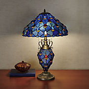 double lit jeweled blue stained glass lamp