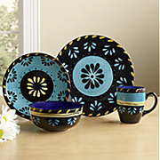 16-Piece Hand-Painted Escolta Simplemente Dinnerware Set by Delicioso