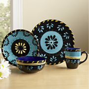 16 pc  hand painted escolta simplemente dinnerware set by delicioso