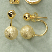 double ball jacket post earrings