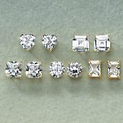5 pair cubic zirconia post earring set