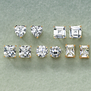 5 pair cubic zirconia post earring set