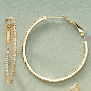 cubic zirconia in out hoops