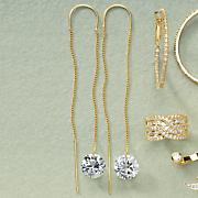 cubic zirconia drop threader earrings
