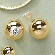 cubic zirconia ball post earrings