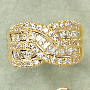 cubic zirconia round rectangular band