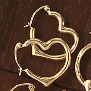 10K Gold Heart Hoops