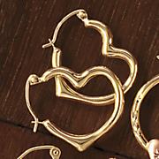 10k gold heart hoops
