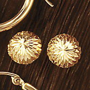 14k gold diamond cut button post earrings