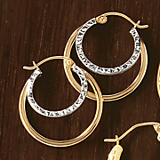 10K Gold Two-Tone Double Hoops