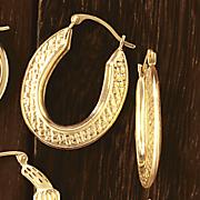 10K Gold Oblong Weave Hoops