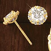 10k gold cubic zirconia halo post earrings