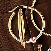 10K Gold Tri Color Heart Hoops