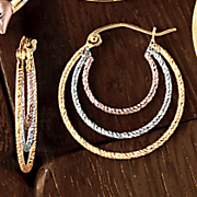 10K Gold Tri Color 3-Row Hoops